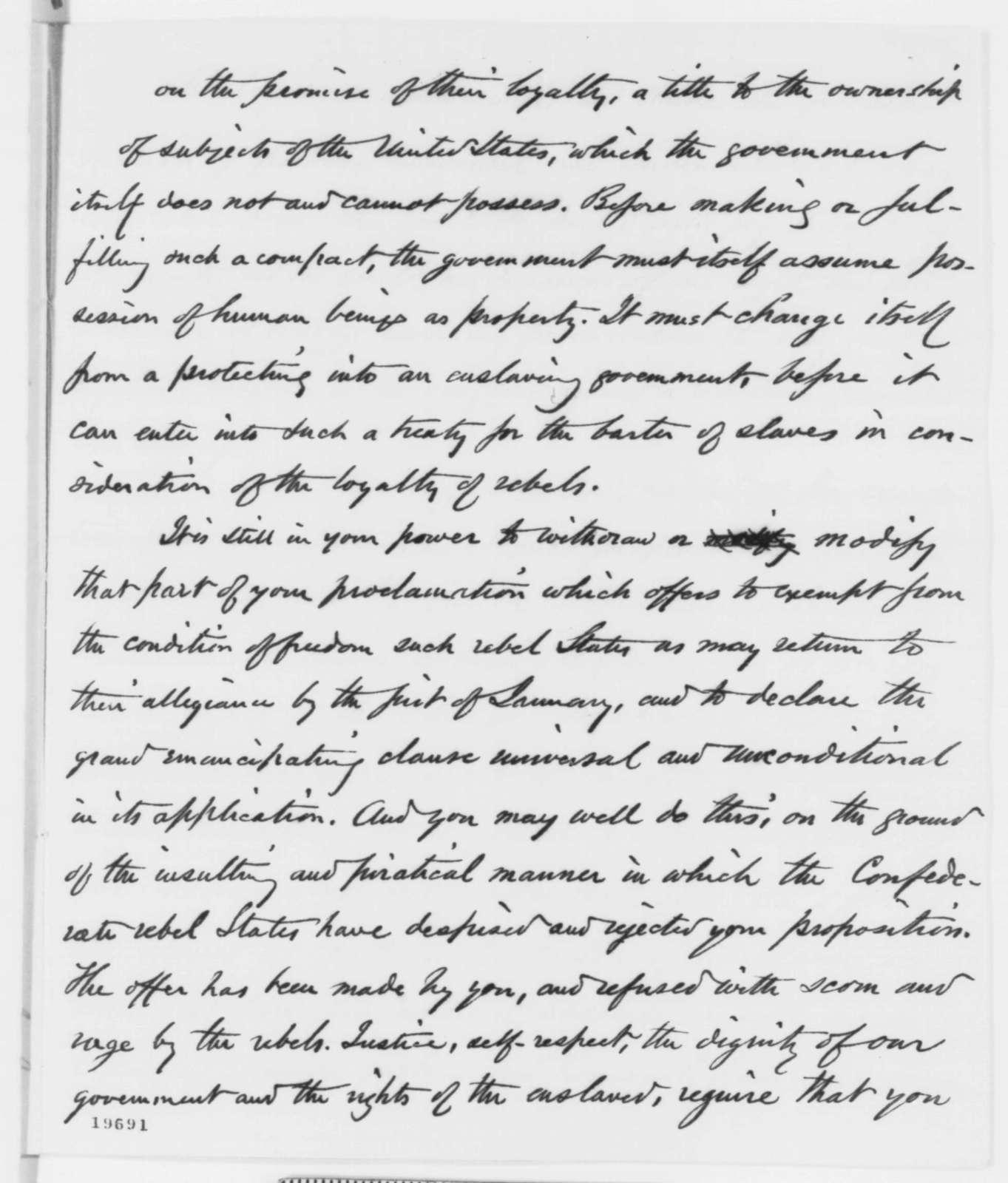 George B. Cheever to Abraham Lincoln, Saturday, November 22, 1862  (Emancipation)