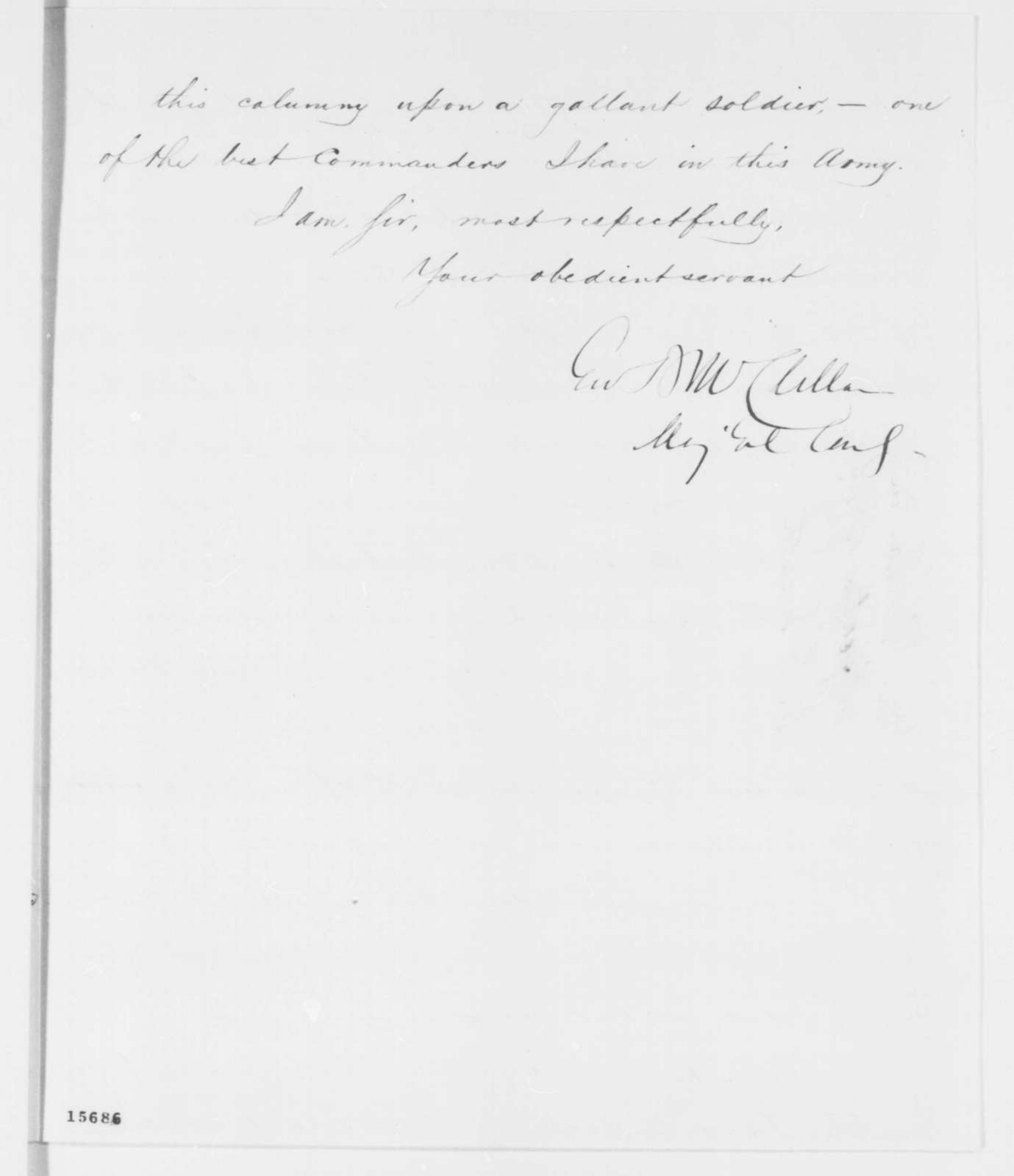 George B. McClellan to Abraham Lincoln, Friday, April 25, 1862  (Gen. William F. Smith)