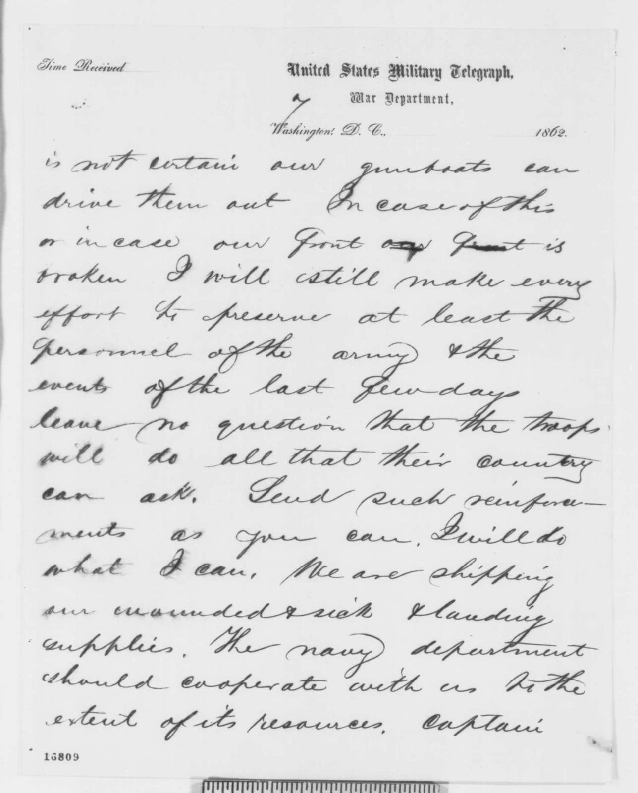 George B. McClellan to Abraham Lincoln, Friday, July 04, 1862  (Telegram regarding military affairs)