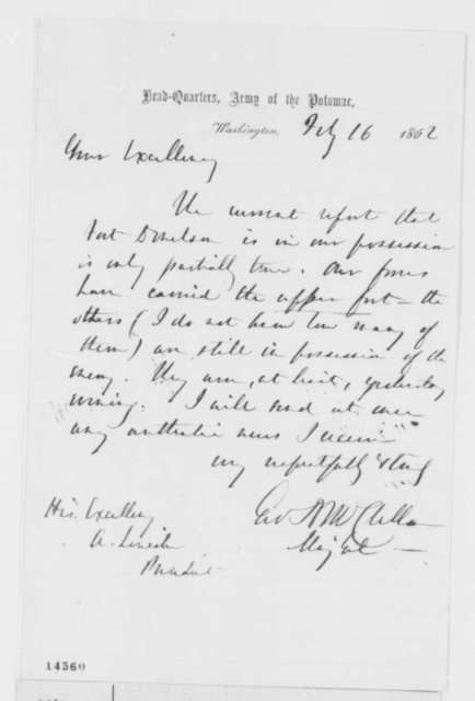 George B. McClellan to Abraham Lincoln, Sunday, February 16, 1862  (Fort Donelson)