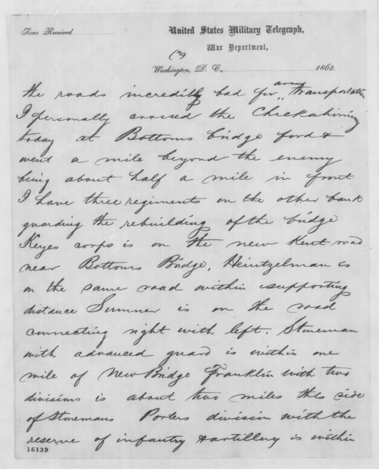 George B. McClellan to Abraham Lincoln, Wednesday, May 21, 1862  (Telegram regarding military affairs)