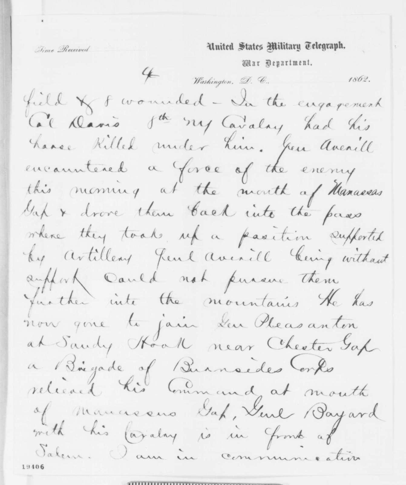 George B. McClellan to Abraham Lincoln, Wednesday, November 05, 1862  (Telegram concerning military affairs)