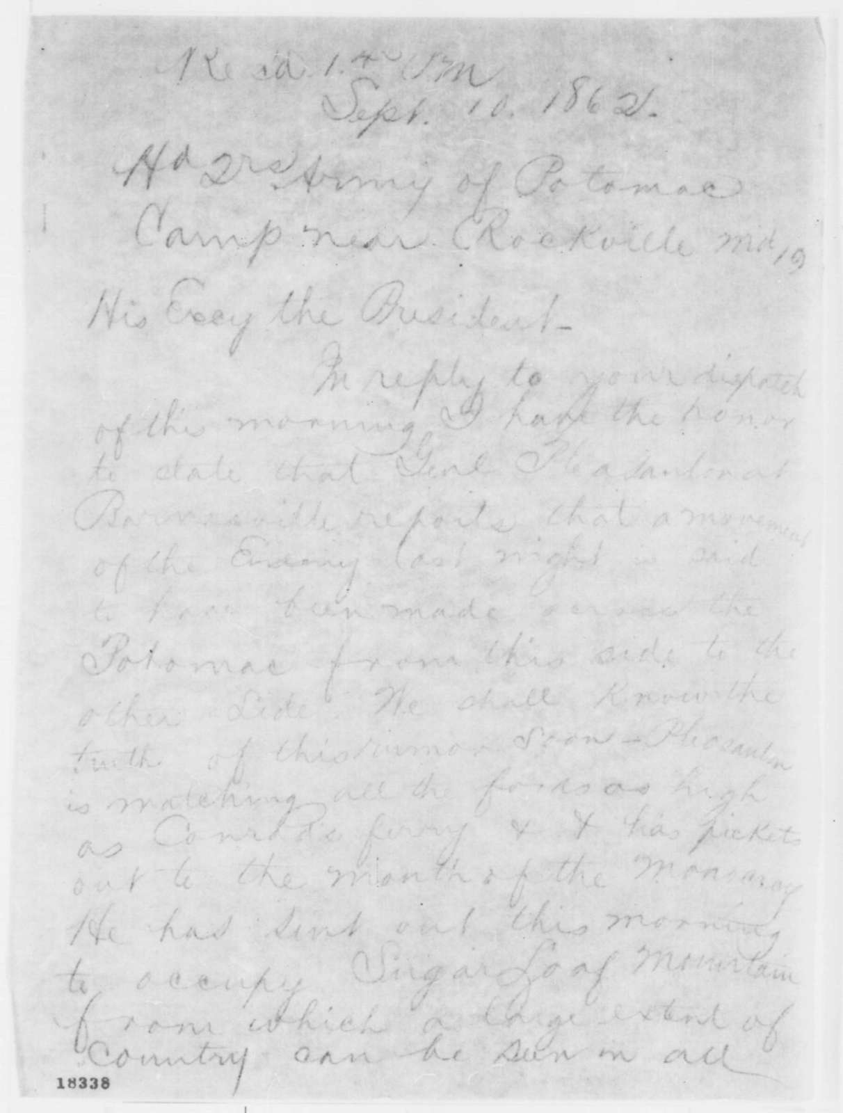 George B. McClellan to Abraham Lincoln, Wednesday, September 10, 1862  (Telegram concerning military affairs)