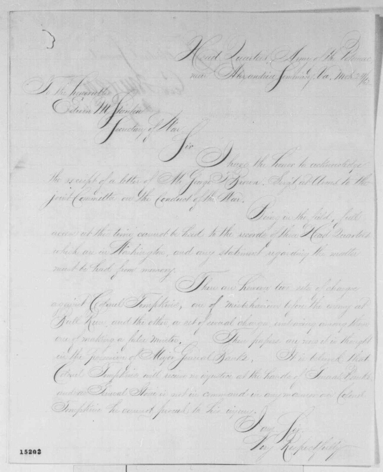 George B. McClellan to Edwin M. Stanton, Monday, March 24, 1862  (Charges against Col. Tompkins; endorsed by Stanton, March 28, 1862)