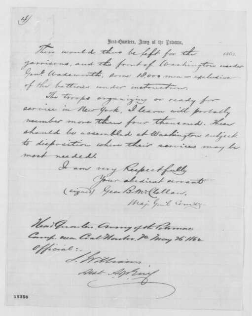 George B. McClellan to Lorenzo Thomas, Tuesday, April 01, 1862  (Military affairs)
