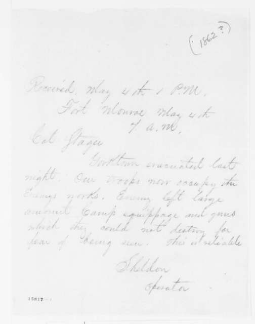 George D. Sheldon to Anson Stager, Sunday, May 04, 1862  (Telegram reporting occupation of Yorktown)