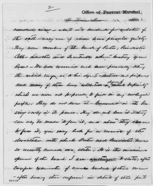 George E. Leighton to J. B. Henderson, Monday, December 15, 1862  (Military affairs in Missouri)