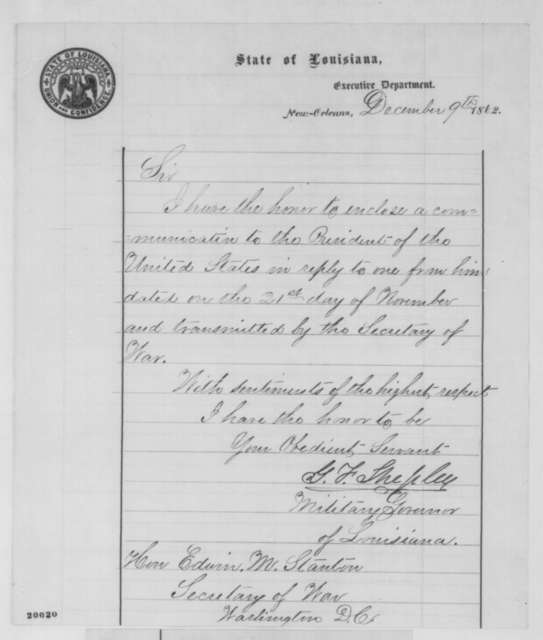 George F. Shepley to Edwin M. Stanton, Tuesday, December 09, 1862  (Cover letter)