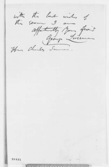 George Livermore to Charles Sumner, Thursday, December 25, 1862  (Wants pen Lincoln will use to sign the Emancipation Proclamation)