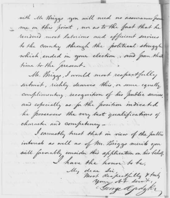 George Opdyke to Abraham Lincoln, Saturday, August 23, 1862  (Recommendation; endorsed by Abraham Lincoln and  Hiram Walbridge)