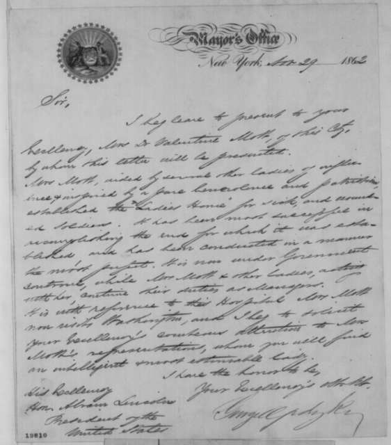 George Opdyke to Abraham Lincoln, Saturday, November 29, 1862  (Introduction)