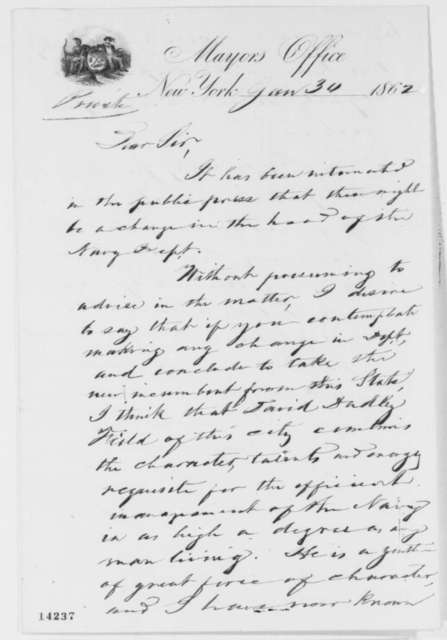George Opdyke to Abraham Lincoln, Thursday, January 30, 1862  (Recommendation)