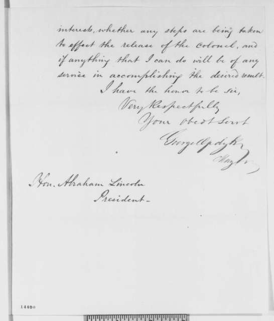 George Opdyke to Abraham Lincoln, Wednesday, February 05, 1862  (Sends resolutions concerning release of Col. Michael Corcoran)