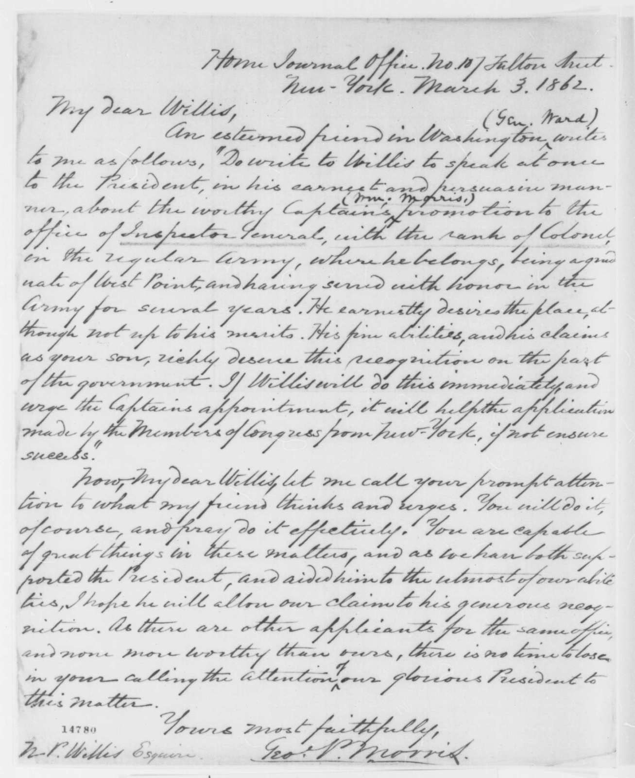 George P. Morris to Nathaniel P. Willis, Monday, March 03, 1862  (Recommends appointment)