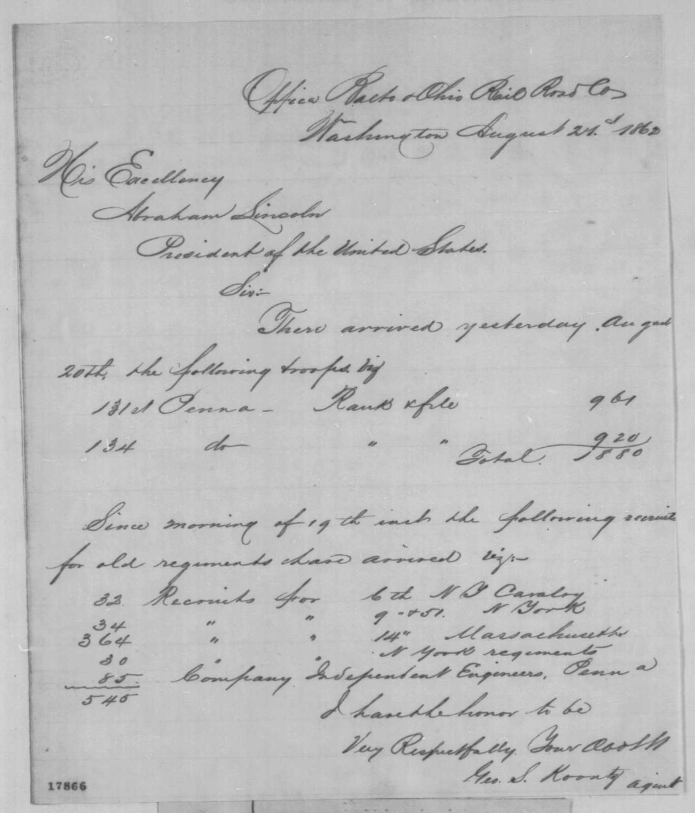 George S. Koontz to Abraham Lincoln, Thursday, August 21, 1862  (Arrival of troops)