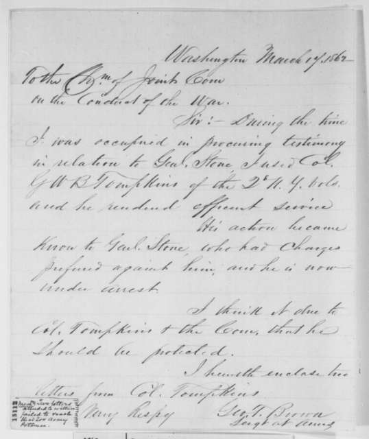 George T. Brown to Benjamin Wade, Monday, March 17, 1862  (Col. George Tompkins and Gen. Stone)