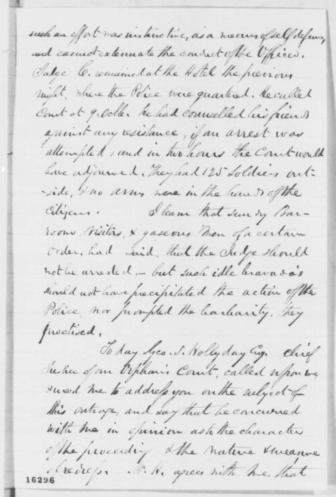 George Vickers to William Price, Tuesday, June 03, 1862  (Arrests in Maryland)