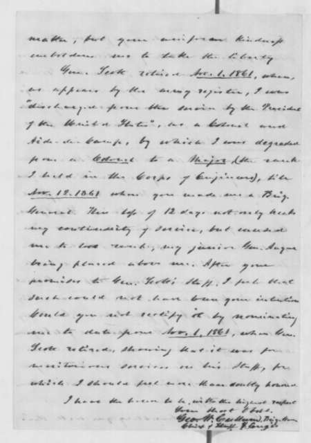 George W. Cullum to Abraham Lincoln, Thursday, May 22, 1862  (Commission as brigadier general)
