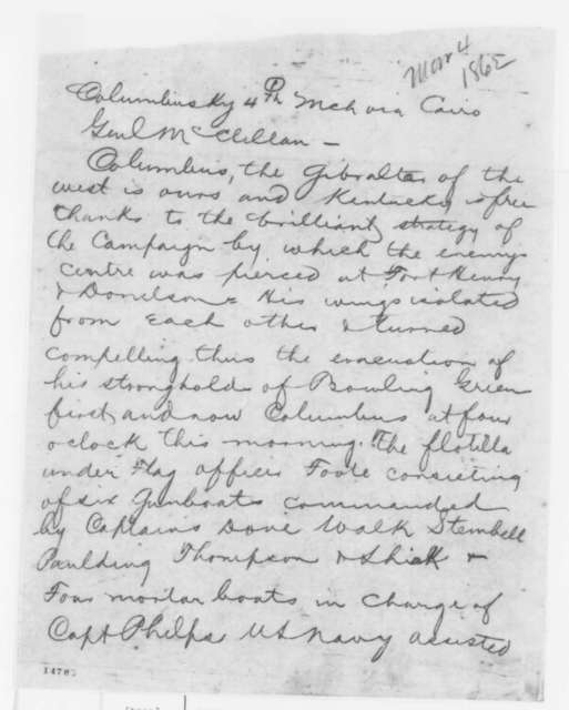 George W. Cullum to George B. McClellan, Tuesday, March 04, 1862  (Telegram reporting military situation in Kentucky)
