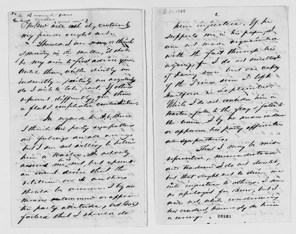 Gideon Welles Papers: Correspondence, 1820-1878; 1862, Jan.-Feb