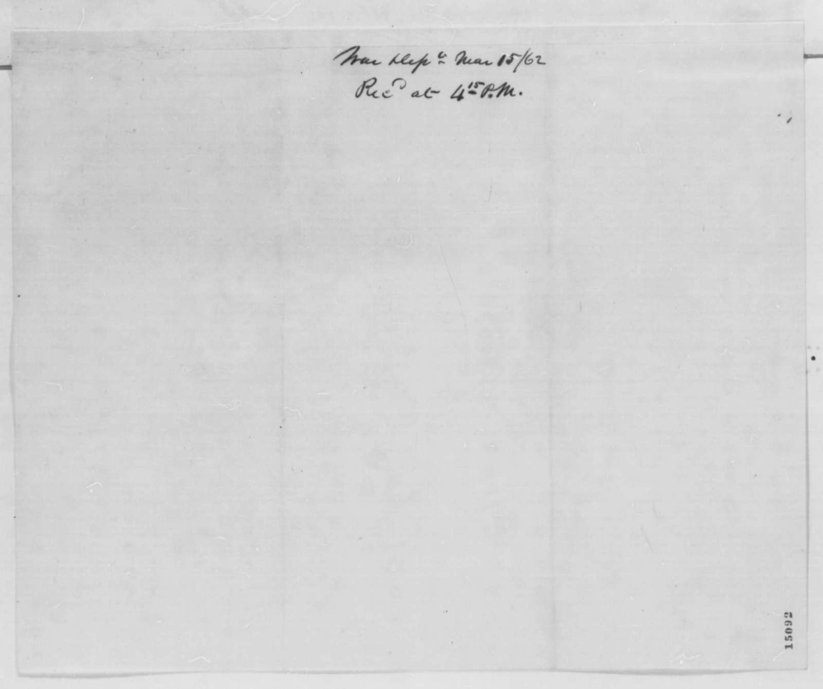 Gideon Welles to Edwin M. Stanton, Saturday, March 15, 1862  (Cover letter)