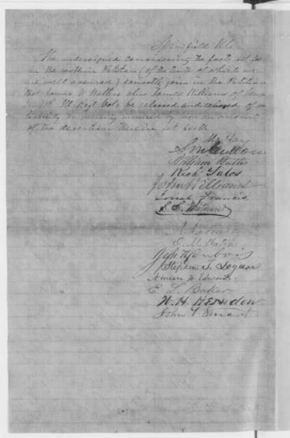 Green B. Walters to Abraham Lincoln, Saturday, March 15, 1862  (Petition requesting pardon for his son; endorsed by William Butler, Richard Yates, et al.)