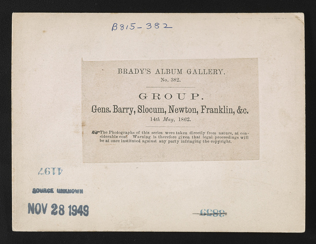 Group Gens. Barry, Slocum, Newton, Franklin, &c., 14th May, 1862