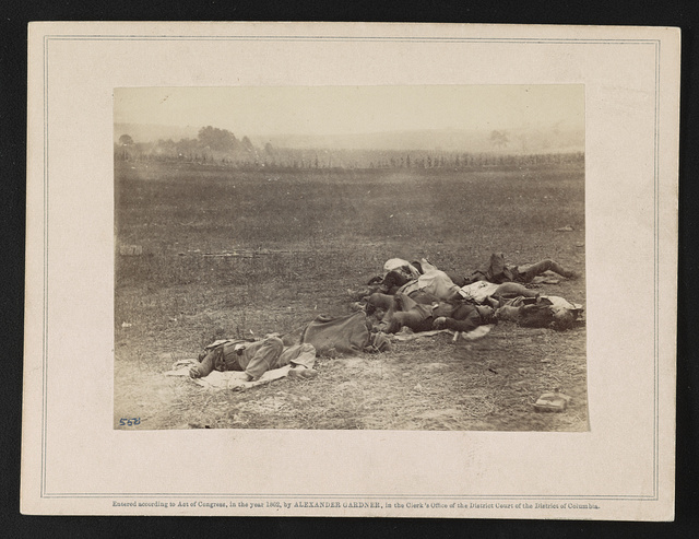 Group of Irish brigade as they lay on the battlefield of Antietam, 19th Sept., 1862