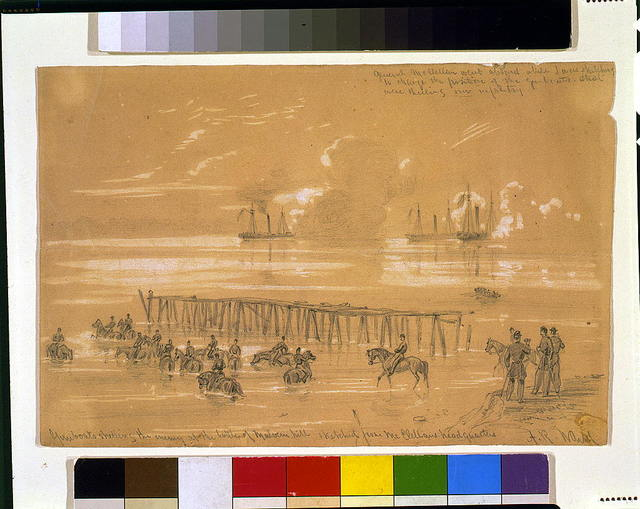 Gunboats shelling the enemy at the battle of Malvern hill sketched from McClellans headquarters