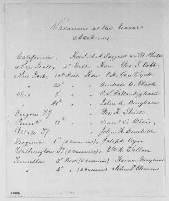Gustavus V. Fox, Thursday, April 17, 1862  (List of vacancies at the Naval Academy)
