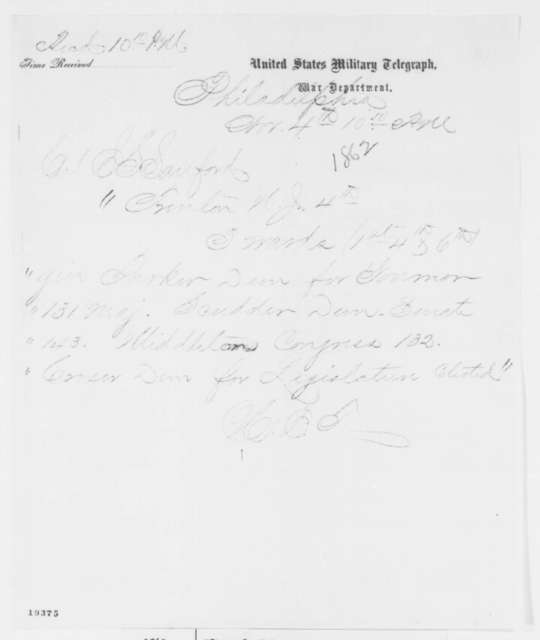 H. E. Thayer to Edward S. Sanford, Tuesday, November 04, 1862  (Telegram reporting New Jersey election results)