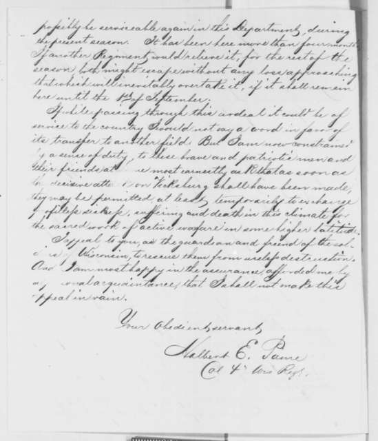 Halbert E. Paine to Edward Salomon, Monday, July 21, 1862  (Condition of soldiers near Vicksburg)