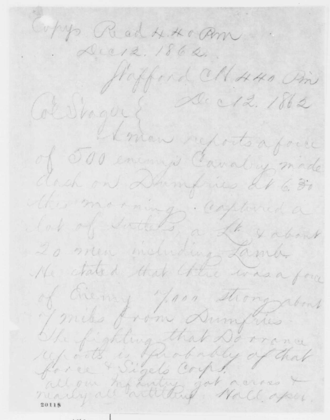 Hall to Anson Stager, Friday, December 12, 1862  (Telegram concerning military affairs)