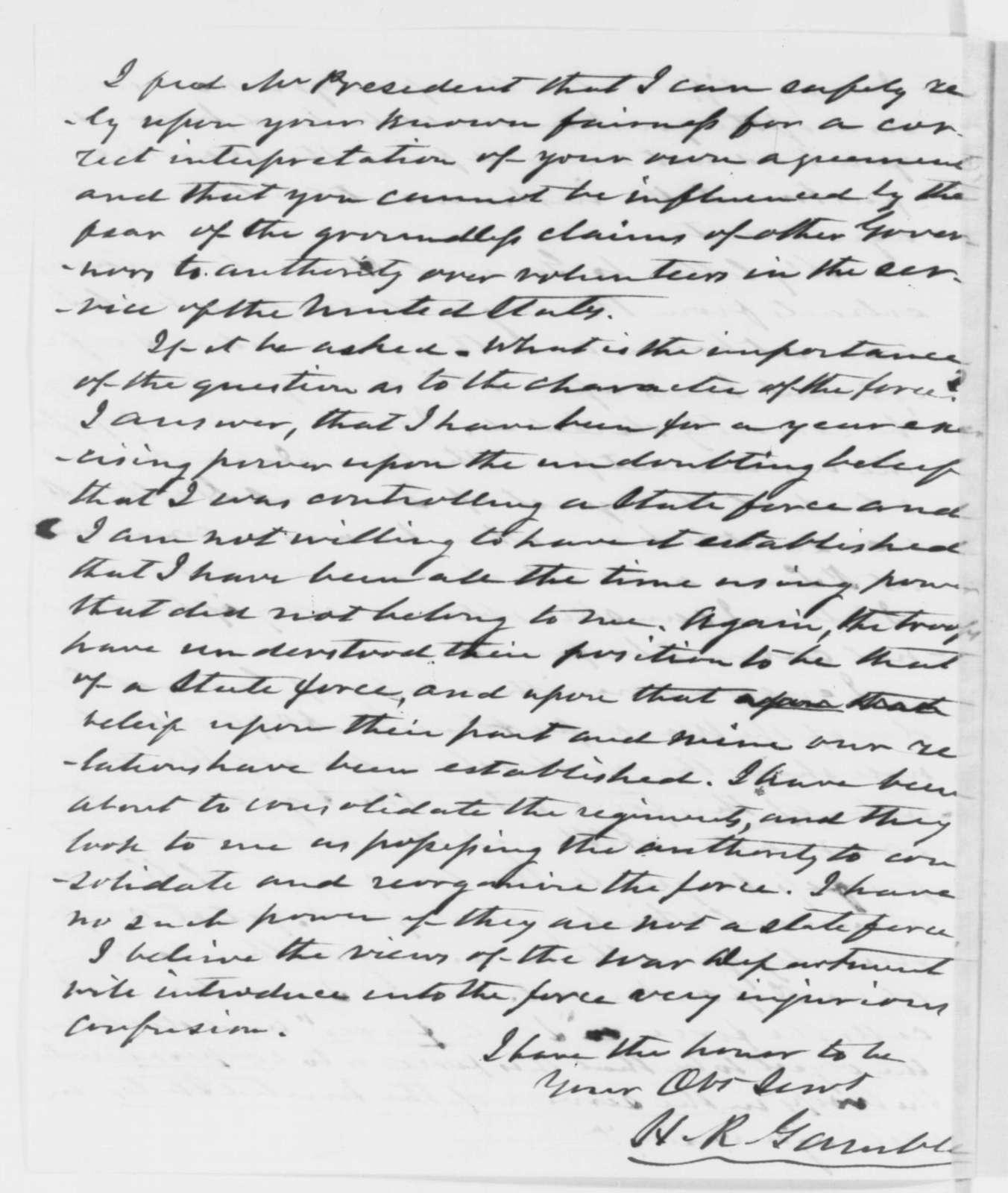 Hamilton R. Gamble to Abraham Lincoln, Monday, November 17, 1862  (Military affairs in Missouri)