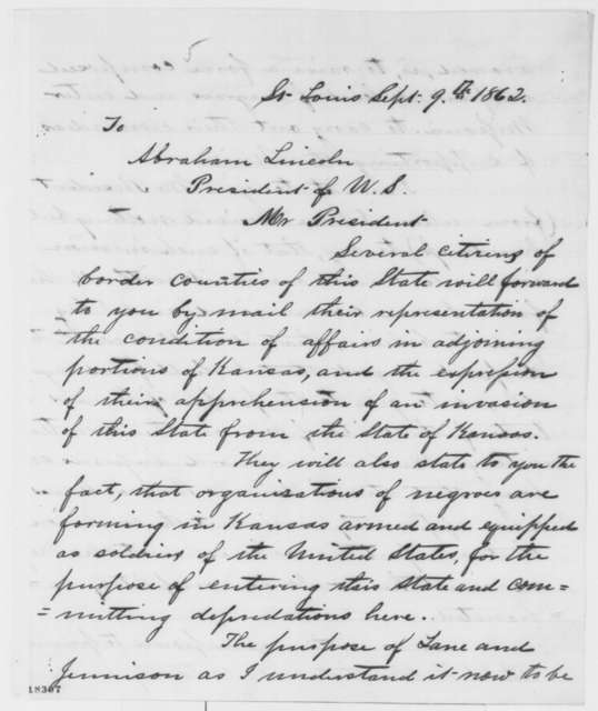 Hamilton R. Gamble to Abraham Lincoln, Tuesday, September 09, 1862  (Situation in Missouri)