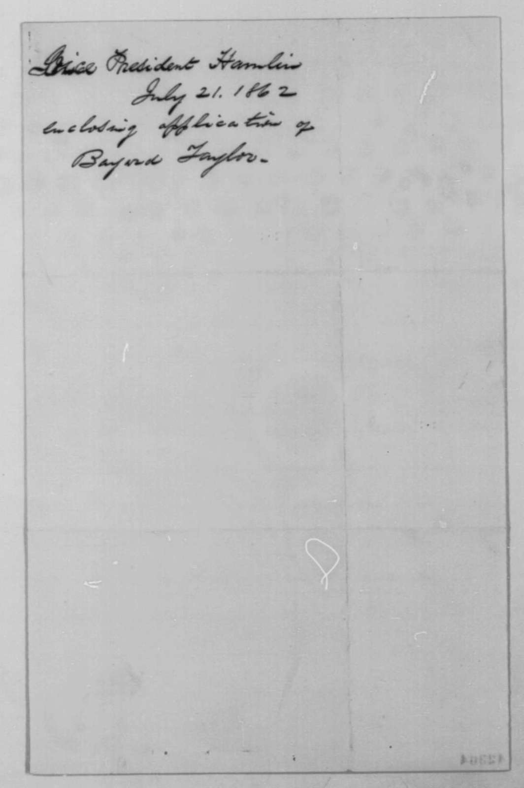 Hannibal Hamlin to Abraham Lincoln, Monday, July 21, 1862  (Recommendation)