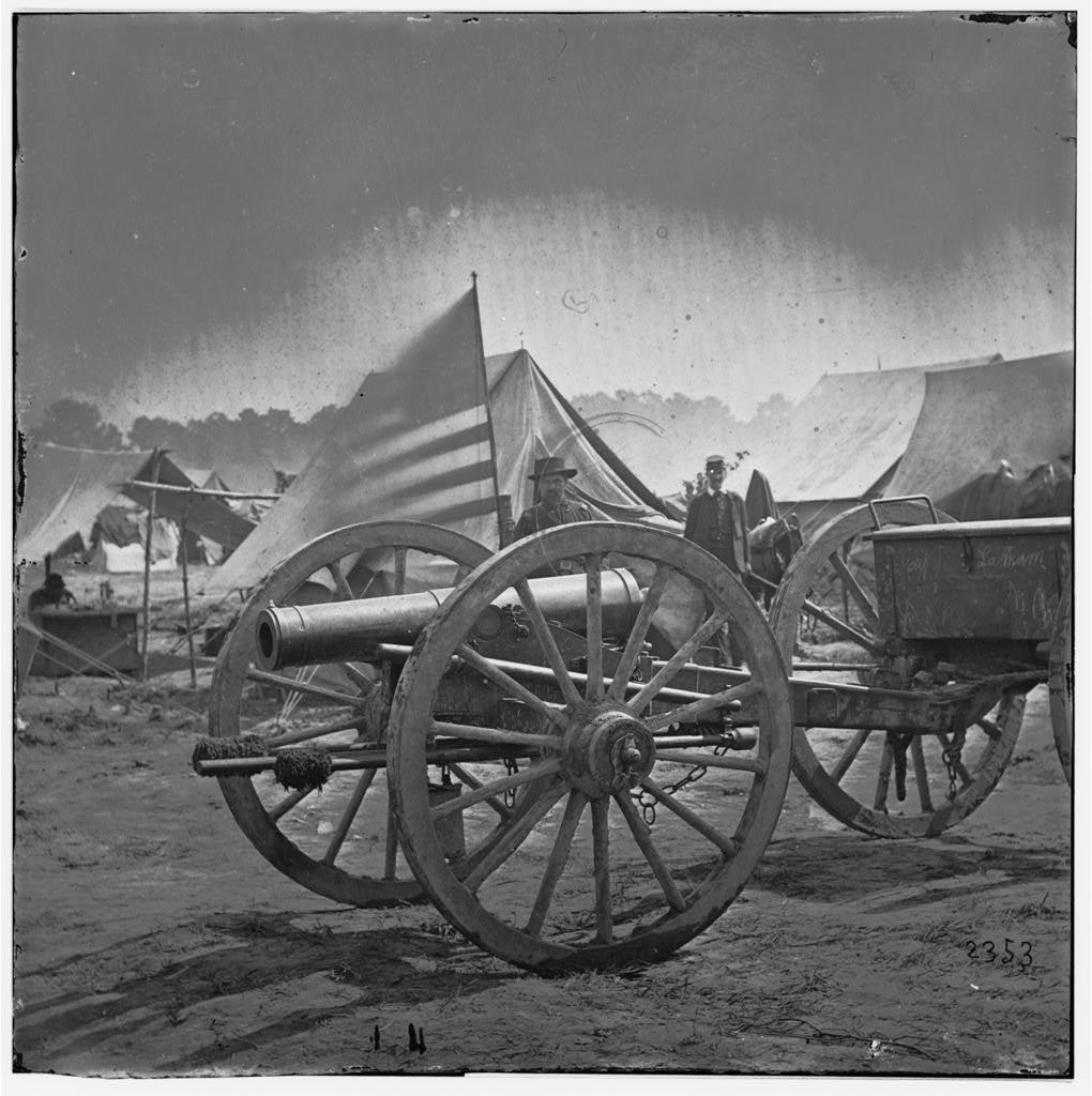 Hanover Court House, Virginia (vicinity). 12-pdr. Howitzer captured by 17th New York & 12th Maine Regiments. (Butterfield's Brigade)
