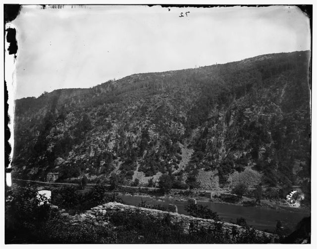 Harper's Ferry, West Virginia. View of Loudoun Heights. (Also called: Dismounted bridge across Armstrong Run)