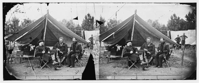 [Harrison's Landing, Va. Col. Albert V. Colburn, Col. Delos B. Sacket, and Gen. John Sedgwick]