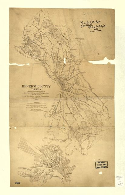 Henrico County, Virginia : prepared under the direction of Lieut. Col. J.N. Nacomb, A.D.C., Chf. Topl. Engr. for the use of Maj. Gen. Geo. B. McClellan, commanding Army of Potomac /