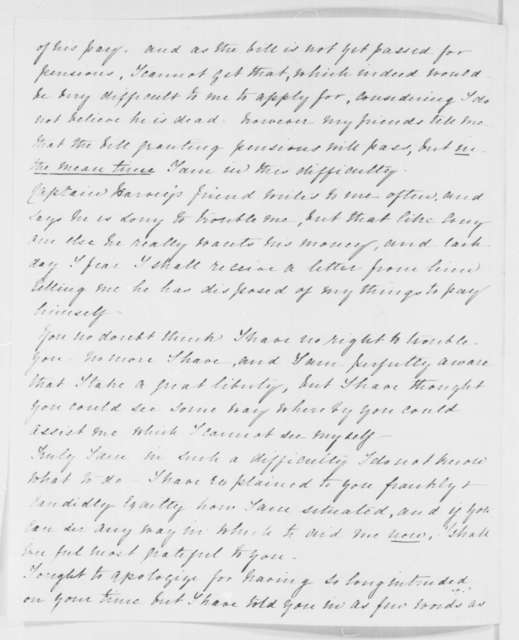Henrietta Harvey to Abraham Lincoln, Tuesday, April 29, 1862  (Seeks financial assistance)