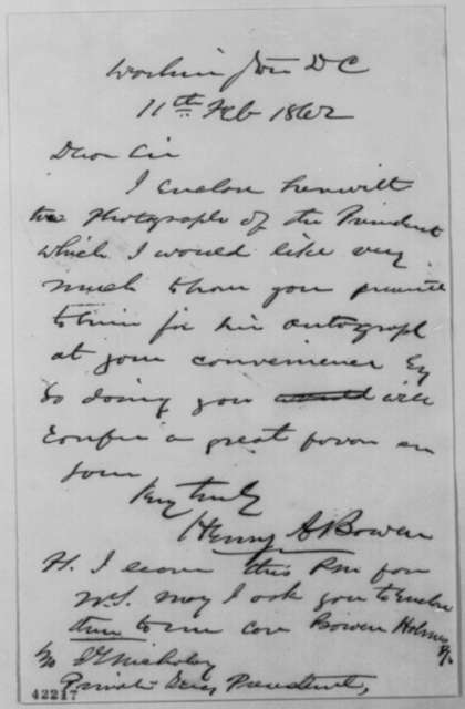 Henry A. Bowen to John G. Nicolay, Tuesday, February 11, 1862  (Autograph picture)