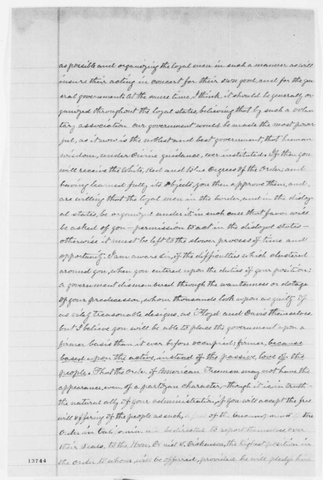 Henry A. Gaston to Abraham Lincoln, Wednesday, January 01, 1862  (Political affairs and Order of American Freemen)
