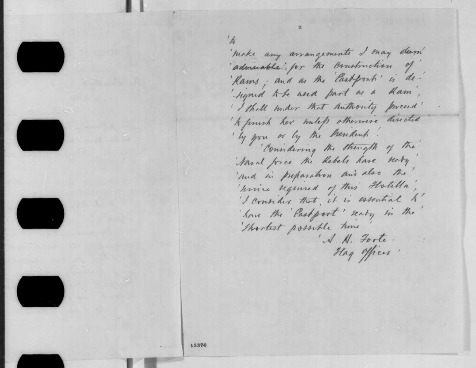 Henry A. Wise to Abraham Lincoln, Thursday, April 03, 1862  (Sends copy of telegram regarding Island No. 10)