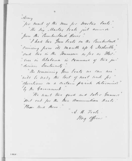 Henry A. Wise to Abraham Lincoln, Thursday, February 27, 1862  (Sends copy of telegram regarding military affairs at Cairo)