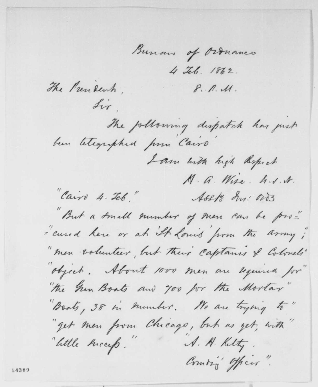 Henry A. Wise to Abraham Lincoln, Tuesday, February 04, 1862  (Sends copy of telegram regarding military affairs at Cairo)