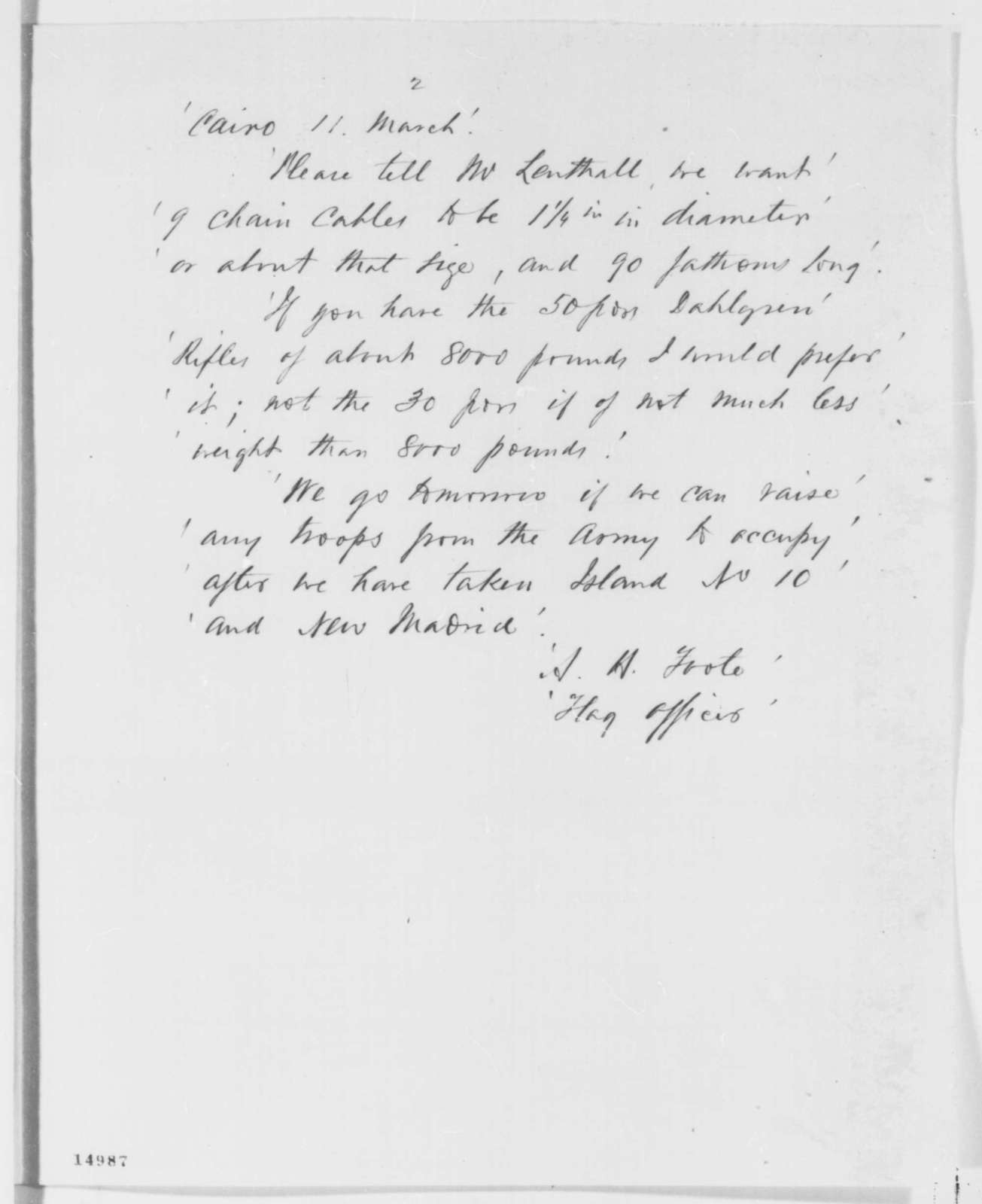 Henry A. Wise to Abraham Lincoln, Wednesday, March 12, 1862  (Sends copies of telegrams regarding military affairs)