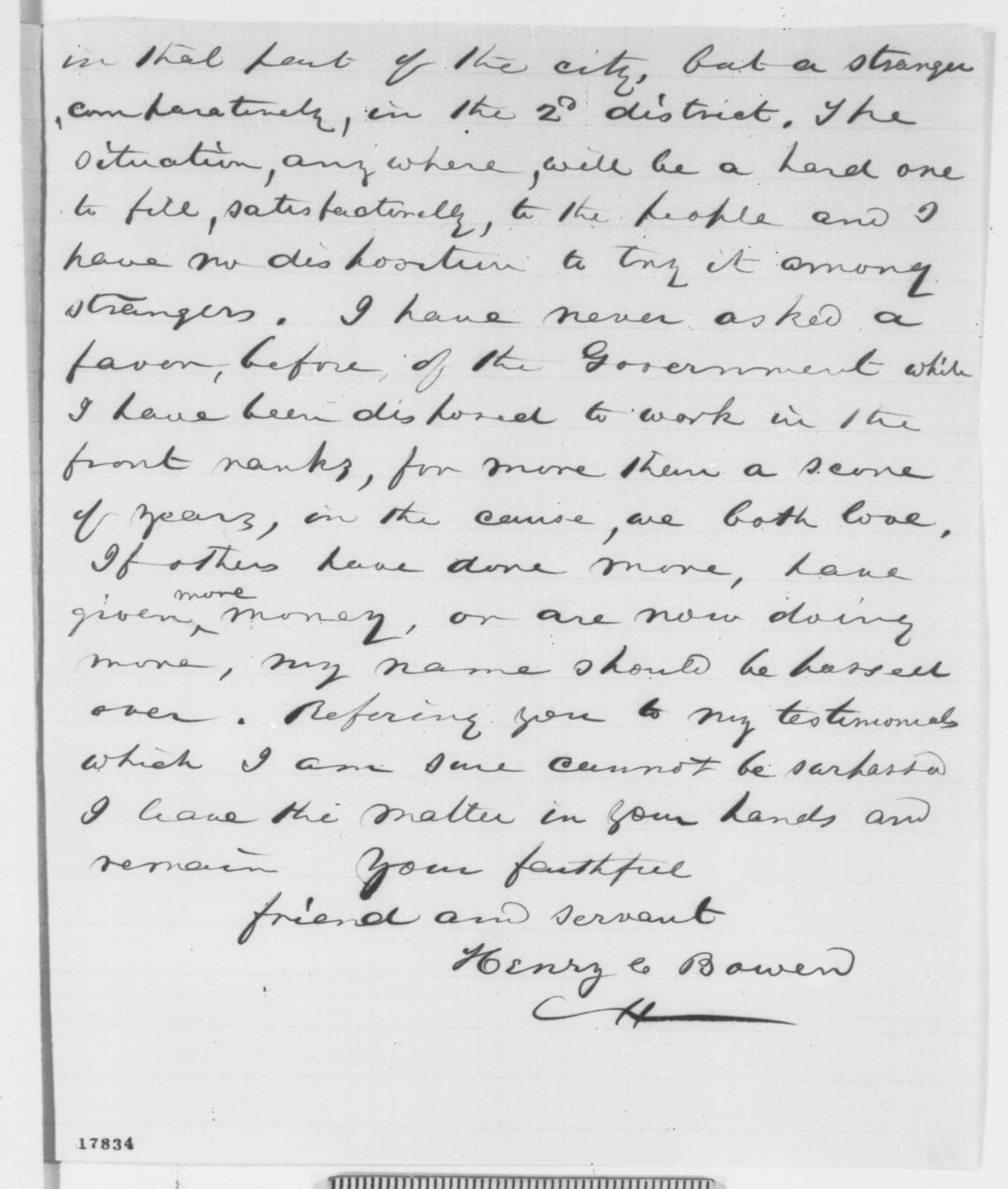 Henry C. Bowen to Abraham Lincoln, Thursday, August 21, 1862  (Appointment)