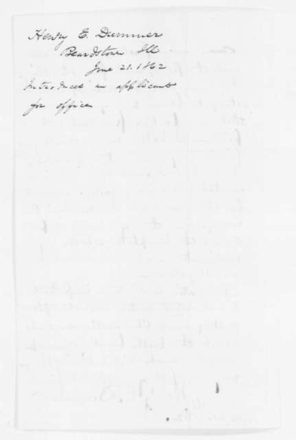 Henry E. Dummer to Abraham Lincoln, Saturday, June 21, 1862  (Introduction)