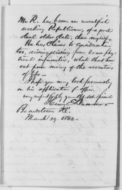 Henry E. Dummer to Abraham Lincoln, Saturday, March 29, 1862  (Recommendation)